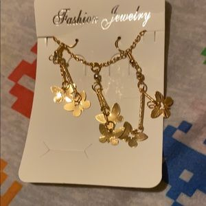 Gold plated butterfly jewelry set